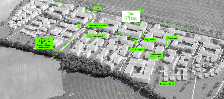 Lage der Projektentwicklung The Plus in den Steimker Gärten