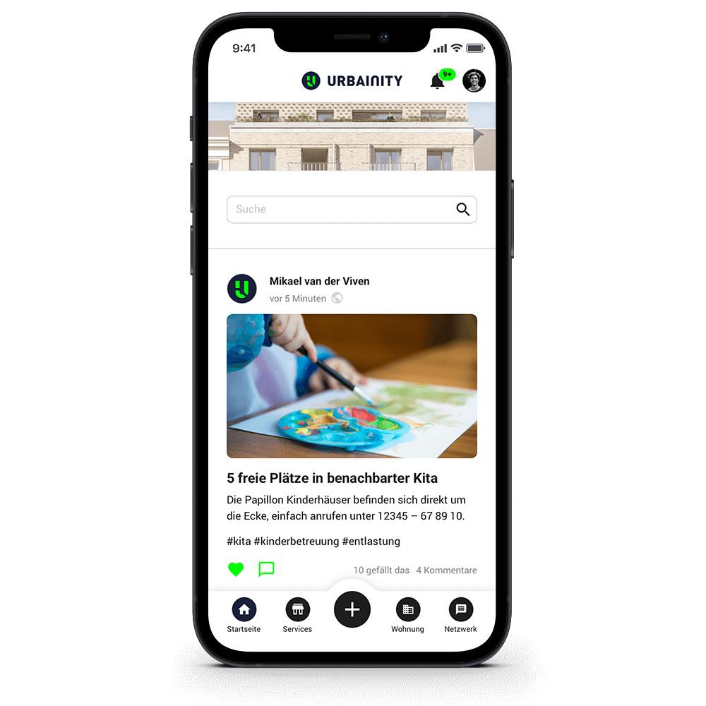 Urbainity-App mit Social Media und Community Funktionen