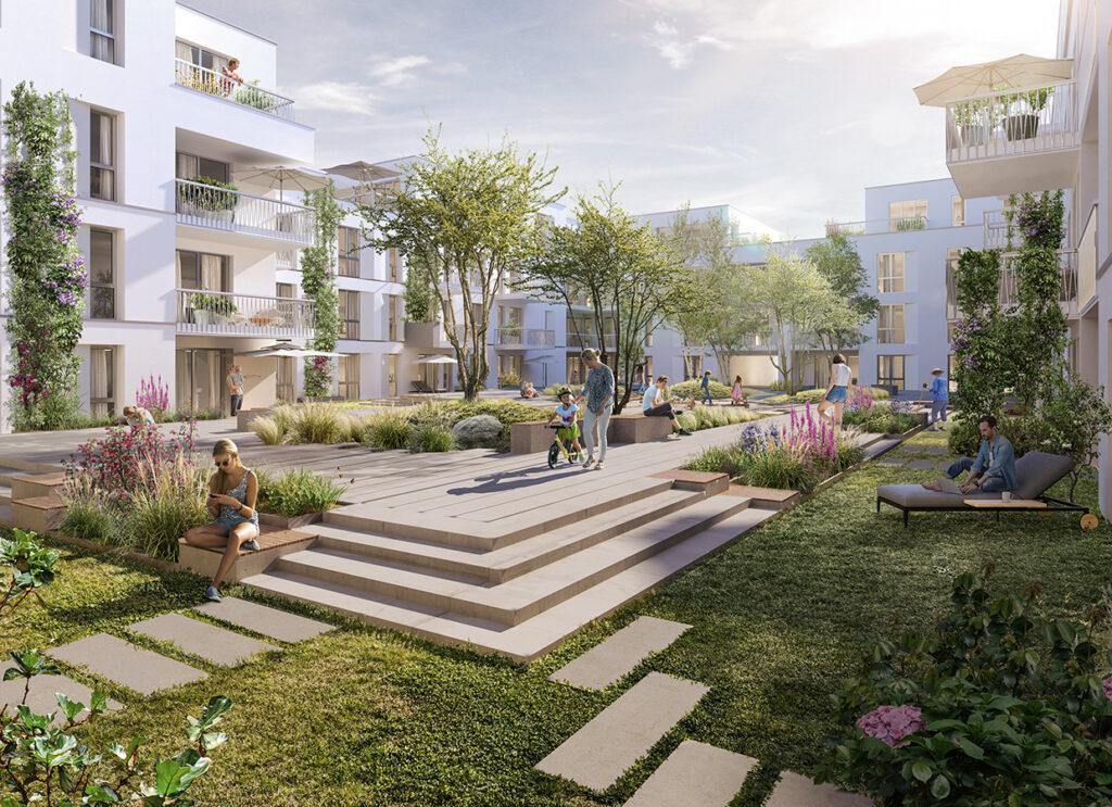 Grüner Innenhof der KfW-40 Plus Urbainity Projektentwicklung The Plus