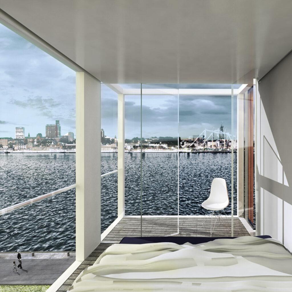 Container-Hotelzimmer im Hafen von Hamburg