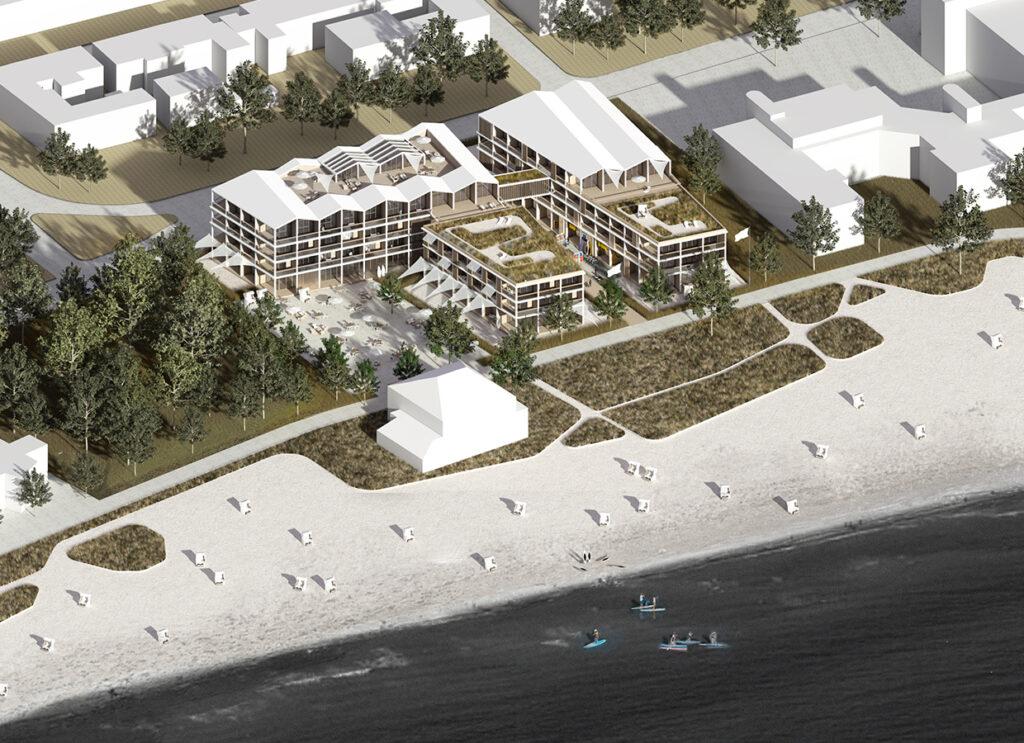 Luftbild der Projektentwicklung des Hotelprojektes in Eckernförde