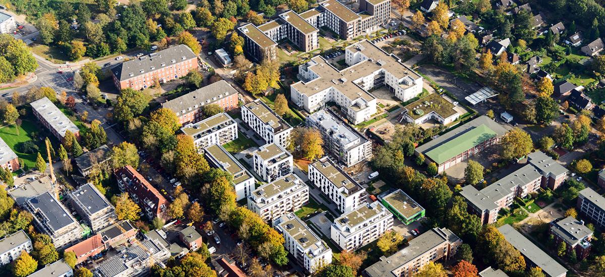 Luftbild vom nachhaltigen Neubauquartier Alsterberg